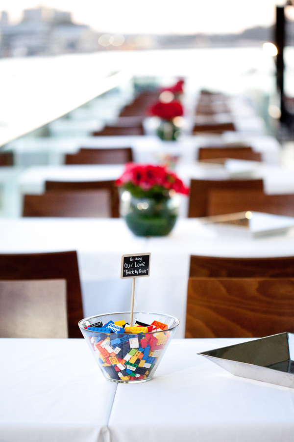 =lego wedding, lego themed wedding, gemma clarke photography, sydney wedding photographer, red floral centrepieces wahroonga flower shoppe sydney, lego centrepieces