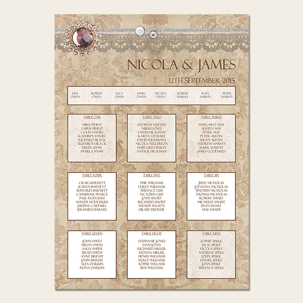 Vintage-Damask-Table-Plan, wedding stationery, tree of hearts