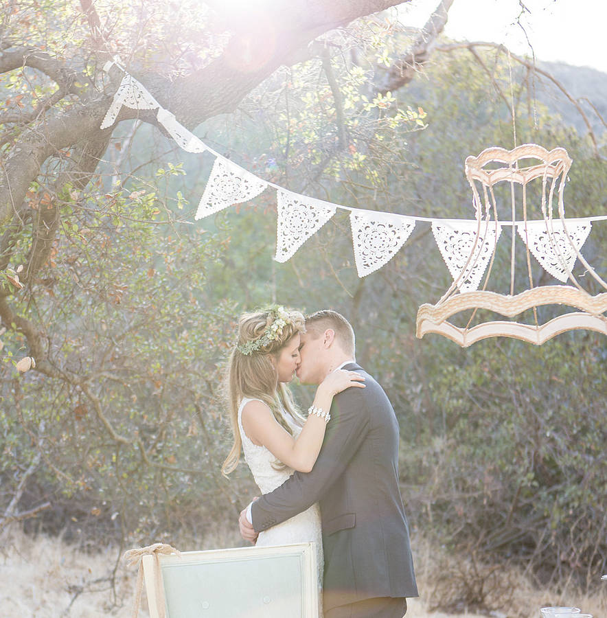 Laser Cut Bunting And Hessian Wedding Decor From Baloolah