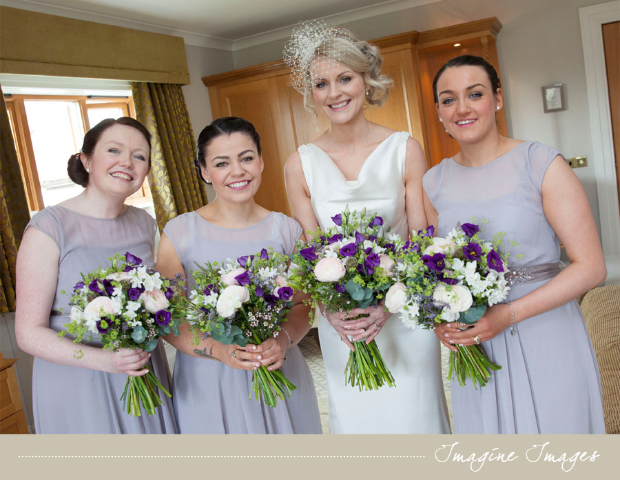 bride, bridesmaids, purple flowers, lochgreen house, imagine images