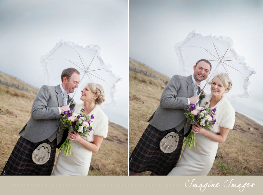 bride and groom, ayrshire beach, lochgreen hoiuse, imagine images