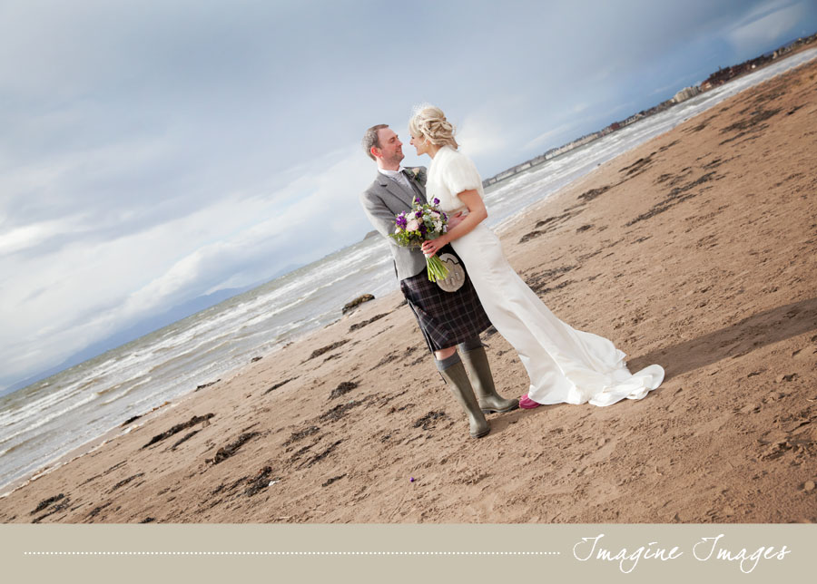 bride and groom, beach, imagine images