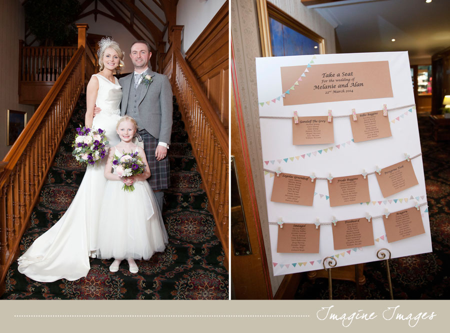 bride and groom, flowergirl, table plan, imagine images, lochgreen house