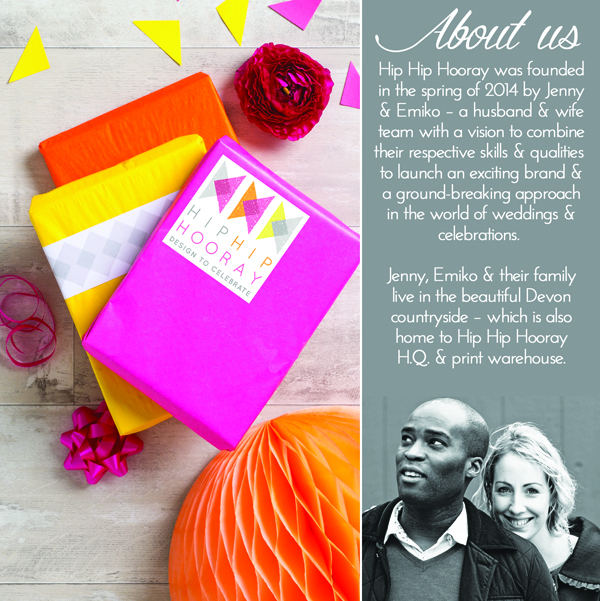 HIP HIP HOORAY About Us, wedding stationery, celebration stationery, hip hip hooray stationery
