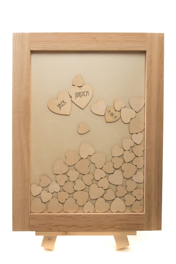 hearts drop top guest book, well personalised