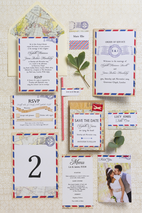 Airmail Wedding Stationery Suite Collection, HIp Hip Hooray
