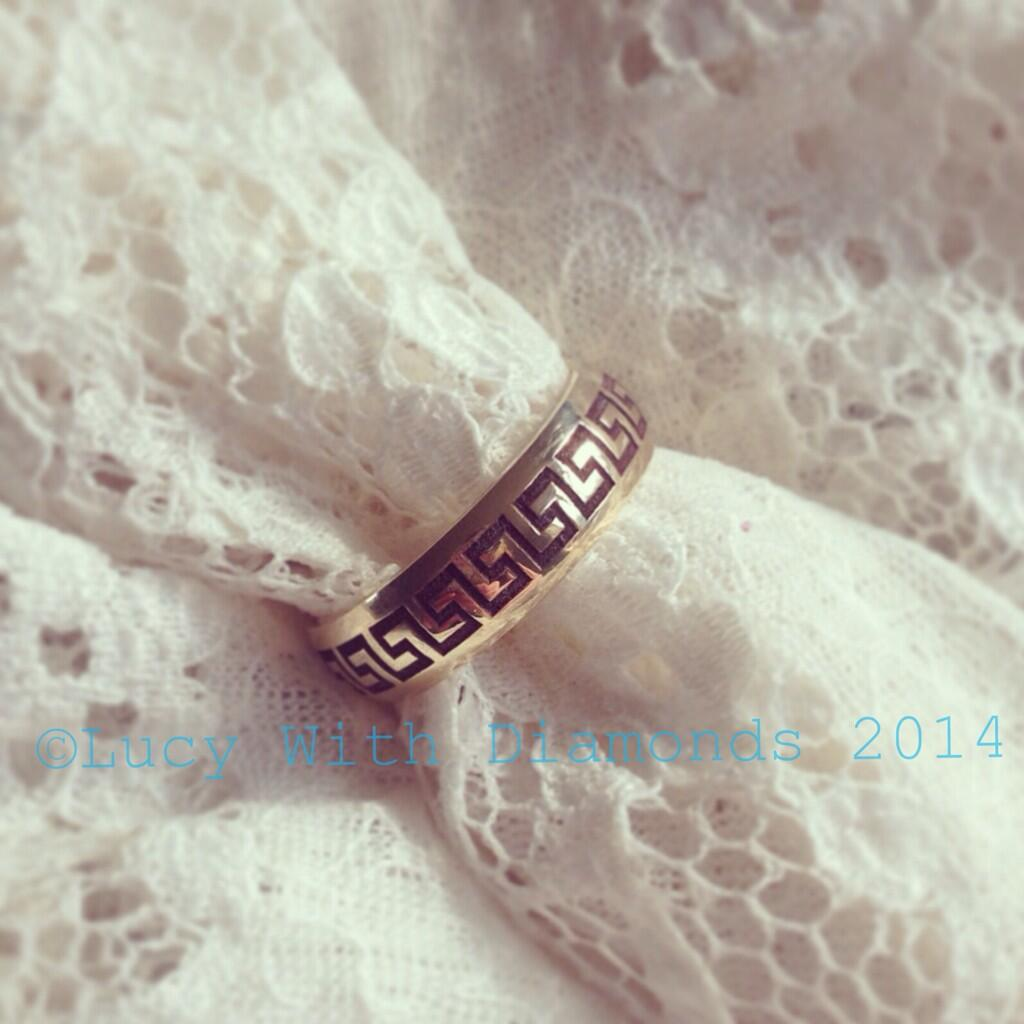 Greek Key inspired Wedding Ring , Lucy with Diamonds , Greek Inspired Wedding Theme