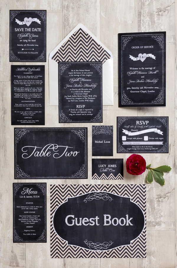 Chalk Board Wedding Stationery Collection, Hip Hip Hooray