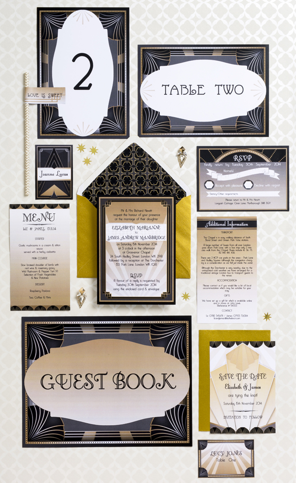 Deco wedding stationery collection,  Hip Hip Hooray