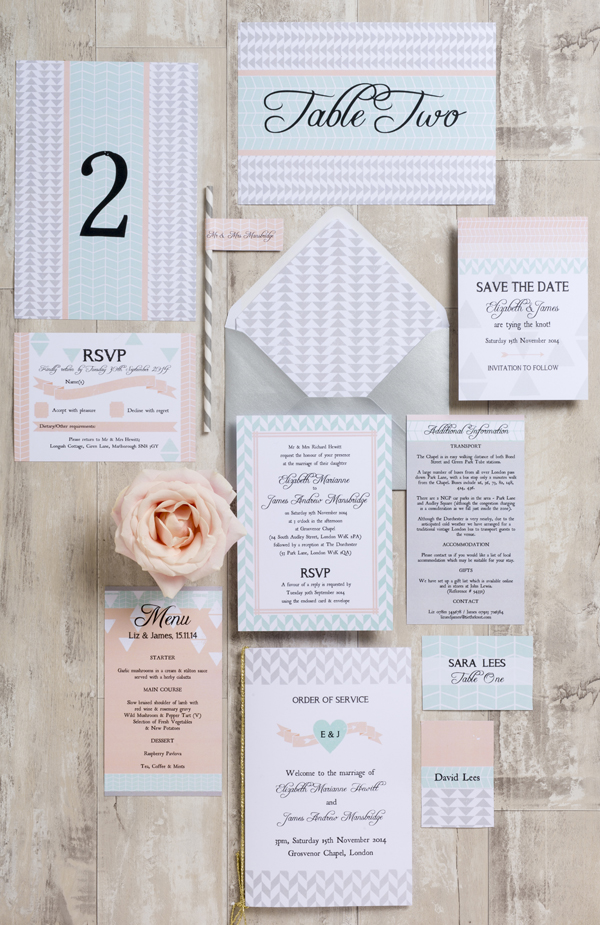 Geometric Wedding Stationery Coral and Mint Aqua,  Hip Hip Hooray