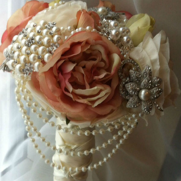 Ivory and Pink belles brooch bouquet, great british wedding