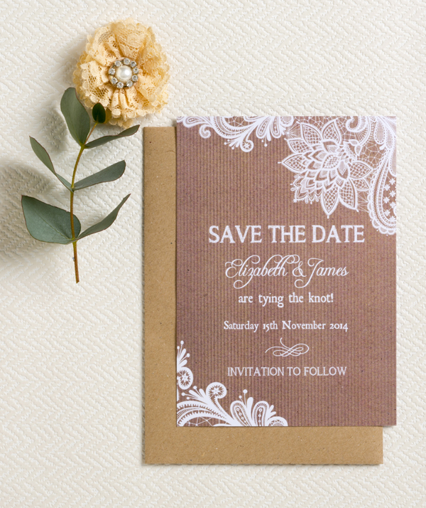 Kraft & Lace Save the Date, Hip Hip Hooray