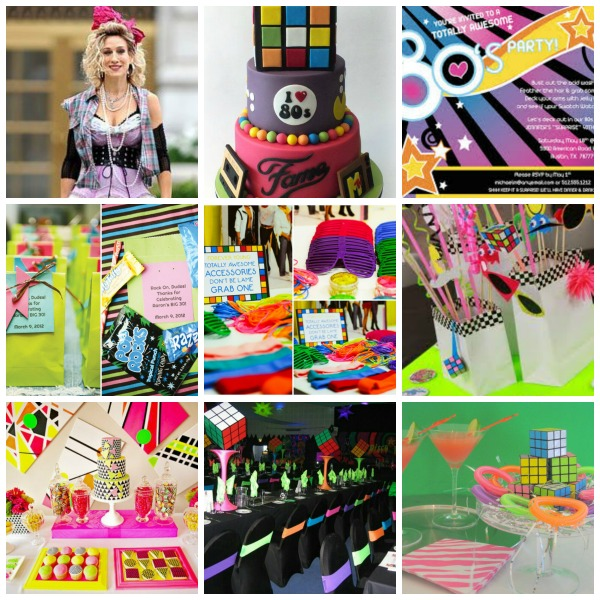 80's inspired party,  80's inspired party moodboard,  80's inspired party styling
