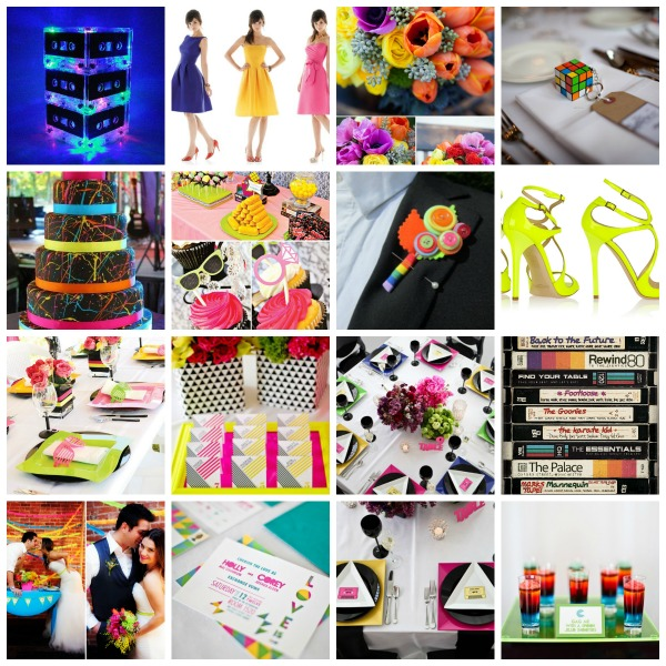 80's inspired wedding, plans and presents moodboards, 80's inspired wedding styling, 80's inspired wedding moodboard