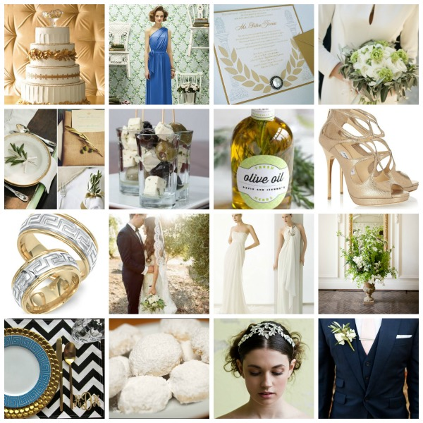 Greek Inspired Wedding Theme, Greek Inspired Wedding Theme Moodboard, Greek Inspired Wedding Theme Ideas
