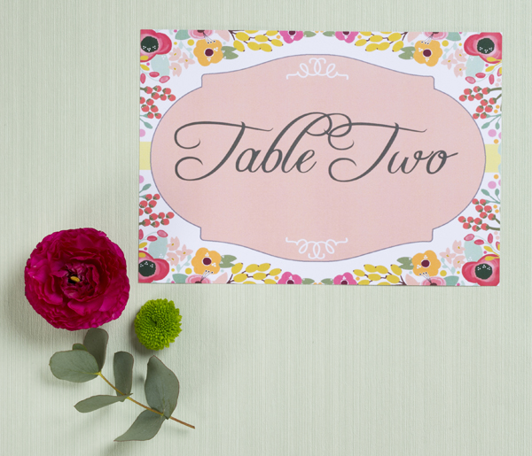 Simply Floral Wedding Table Name Card , Hip Hip Hooray