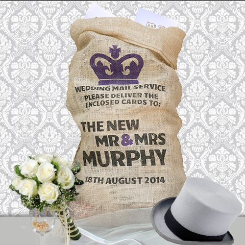 crown mail wedding card sack, well personalised