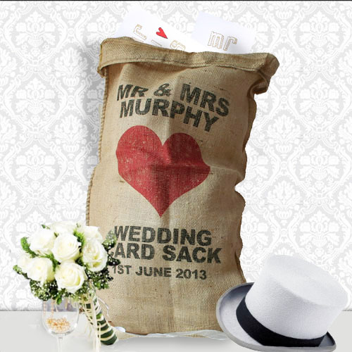 heart wedding card sack, well personalised