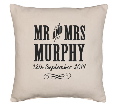 mr & mrs personalised cushion, well personalised