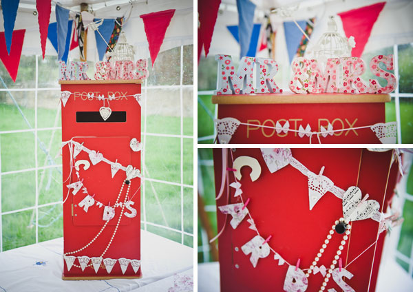 Cloud9-Wedding-Photography, read and blue bunting, DIY wedding post box