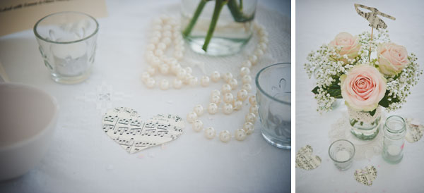 Cloud9-Wedding-Photography, DIY rose wedding centrepieces, tealights, musical score table confetti