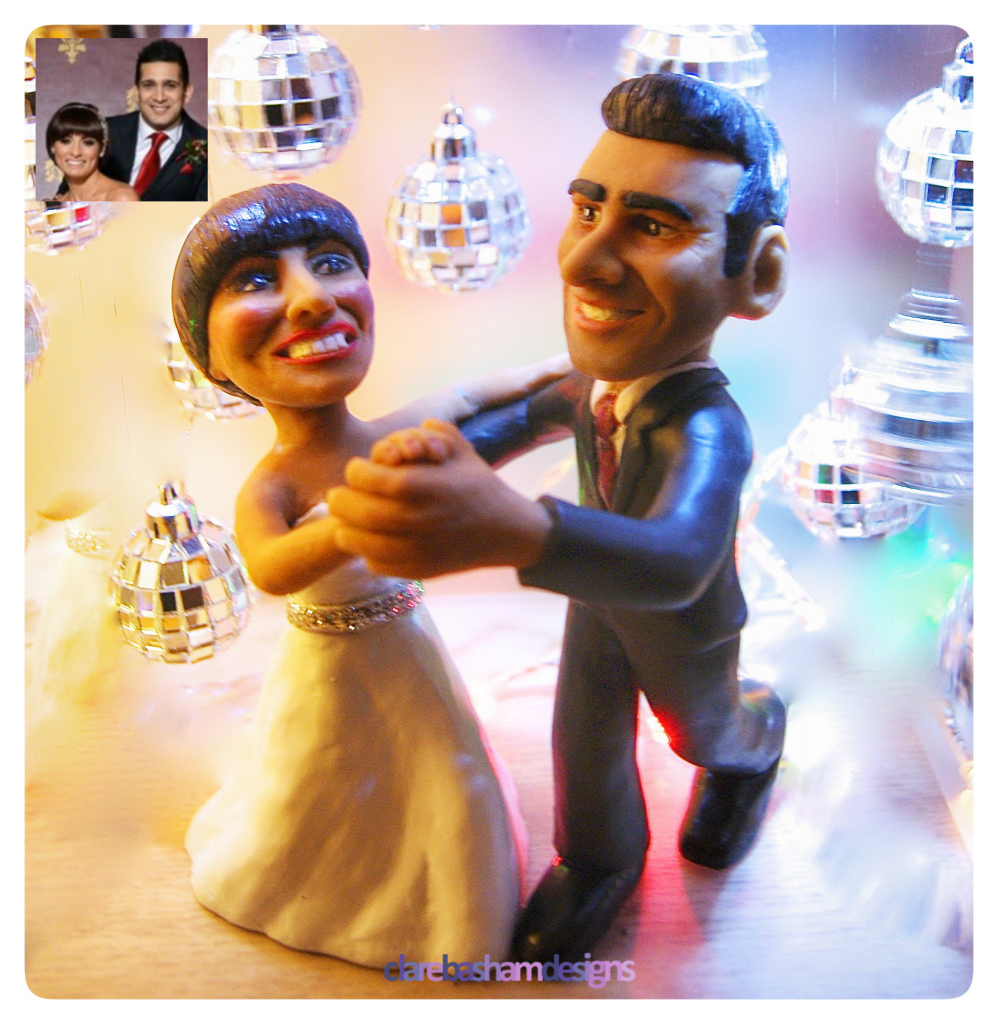 Flavia and Jimi Custom Wedding Cake Topper, personalised cake topper, clare basham designs