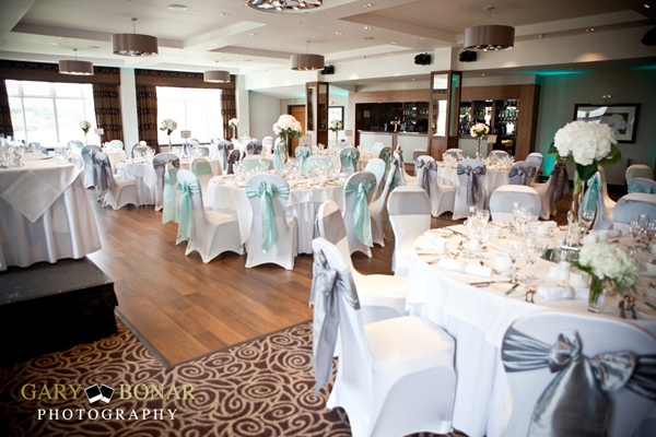 wedding reception set up, tiffany blue, platinum, lochside house hotel, gary bonar photo