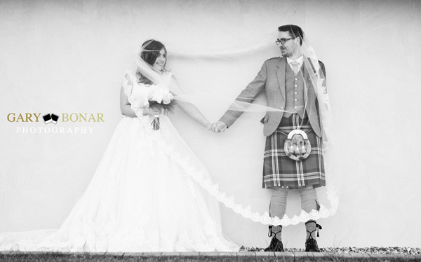 veil - etiquette bridal couture, lochside house hotel, bride and groom, gary bonar photo