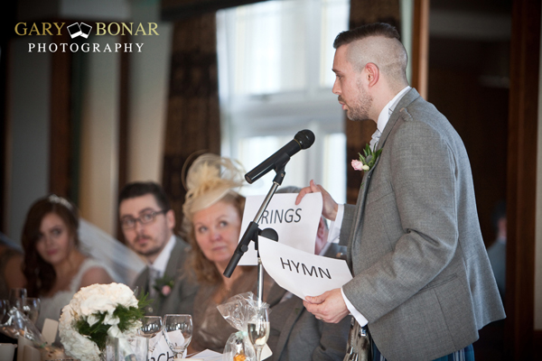 wedding speeches , lochside house hotel, gary bonar photo