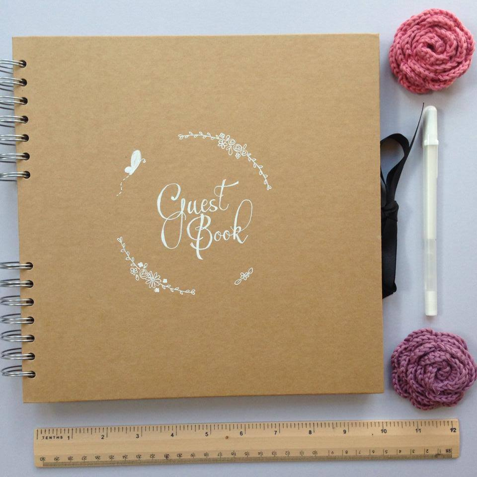 nature and typography inspired, wedding stationery, alfie winn designs, guest book