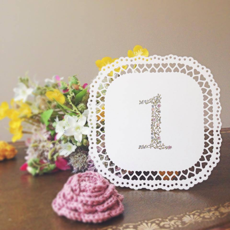 nature and typography inspired, wedding stationery, alfie winn designs table number