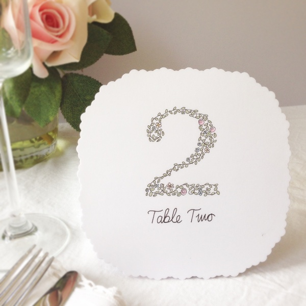 nature and typography inspired, wedding stationery, alfie winn designs, wedding table number