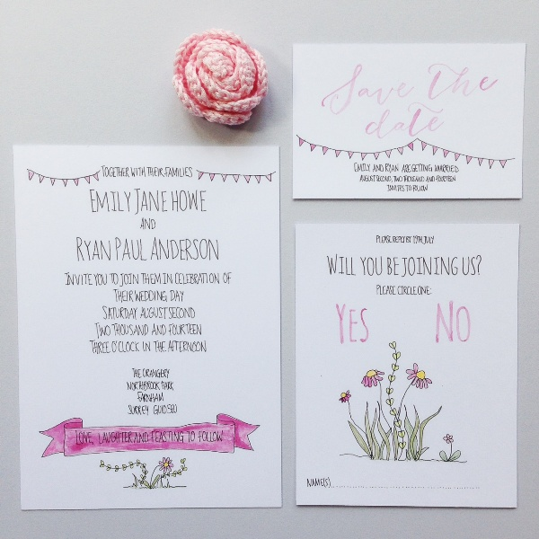 nature and typography inspired, wedding stationery, alfie winn designs, wedding invitation, save the date, RSVP