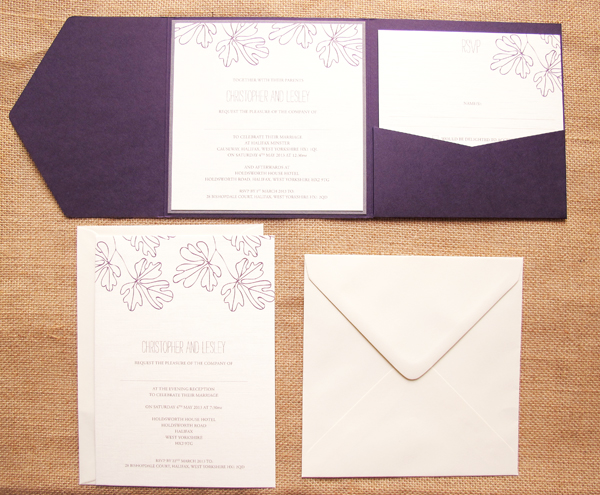 Oak- leaf - wedding-stationery-set, olive weddings , plum wedding theme