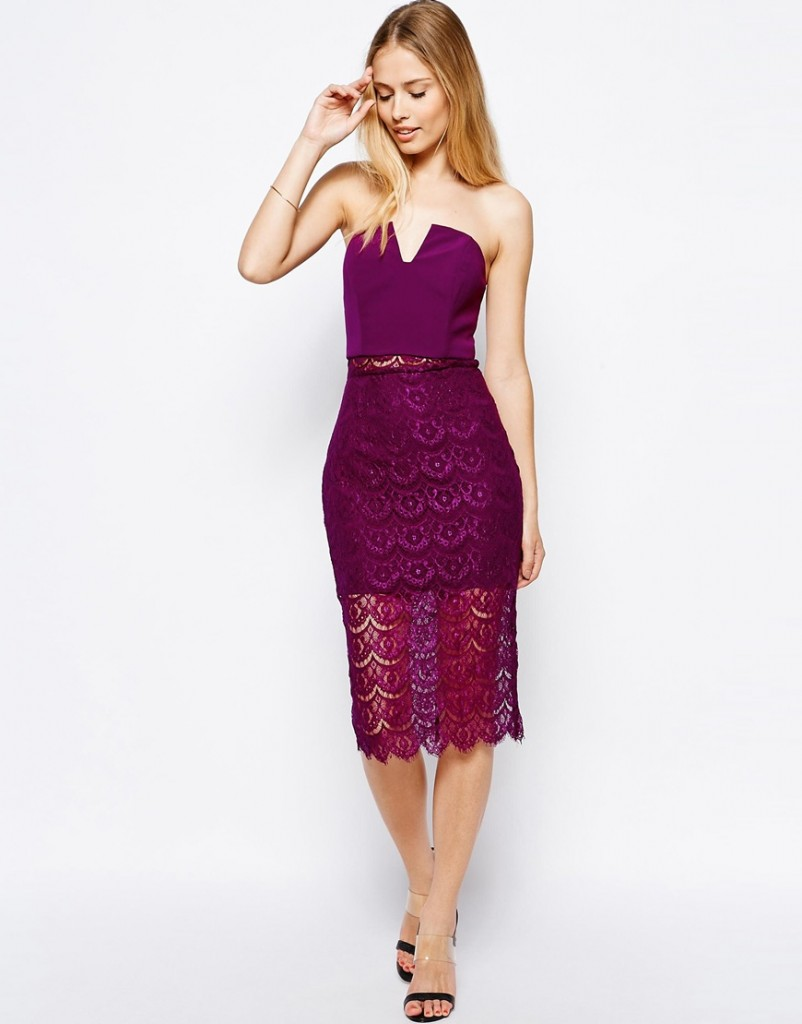 plum midi strapless dress in lace, Jarlo, ASOS, plum wedding theme