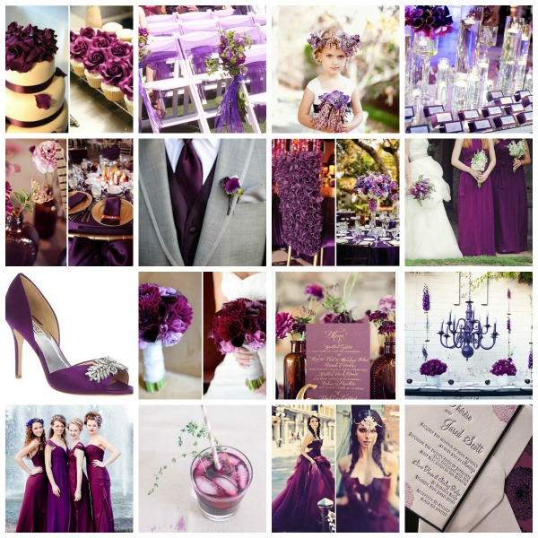 plum wedding theme  Collage