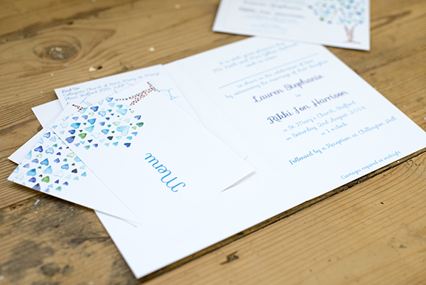 Blue tree design, Yellowstone Paperworks,  Contemporary Wedding Stationery, Image by Hollybooth Photography