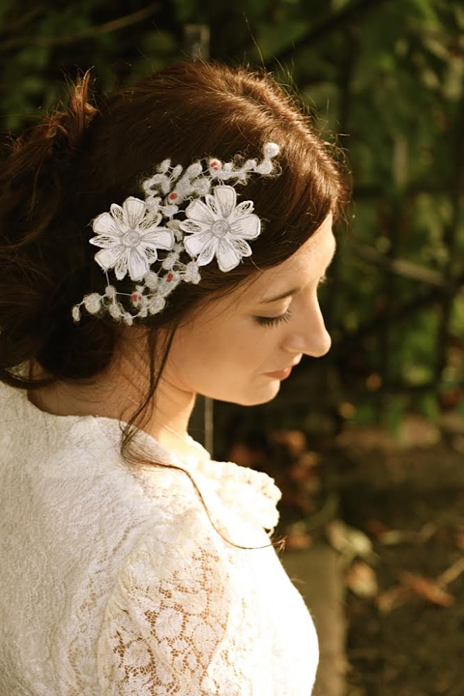 bridal headpiece, contemporary lace, kate slater lace