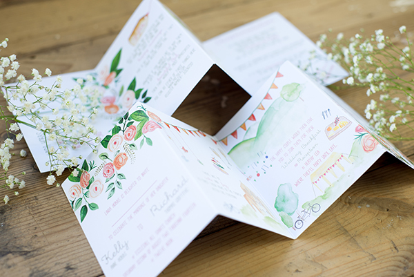 concertina design, Yellowstone Paperworks, Contemporary Wedding Stationery, Image by Hollybooth Photography