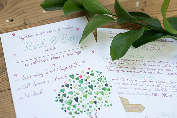 green tree design, Yellowstone Paperworks, Contemporary Wedding Stationery, Image by Hollybooth Photography