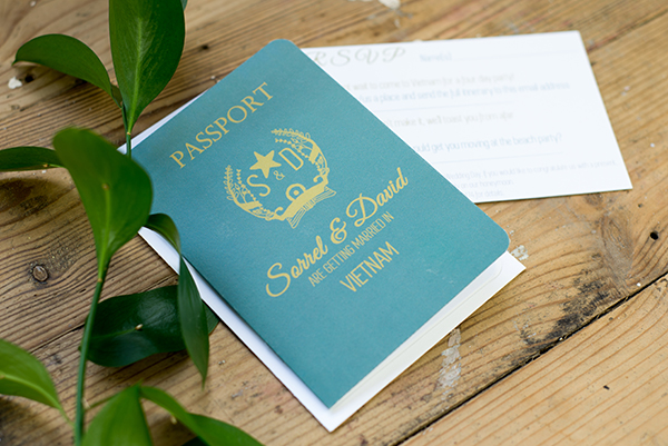 passport design, Yellowstone Paperworks,  Contemporary Wedding Stationery,  Image by Hollybooth Photography