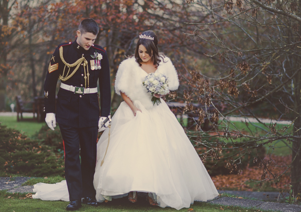 A Charlotte Balbier Gown For A Military Wedding With A Palette Of