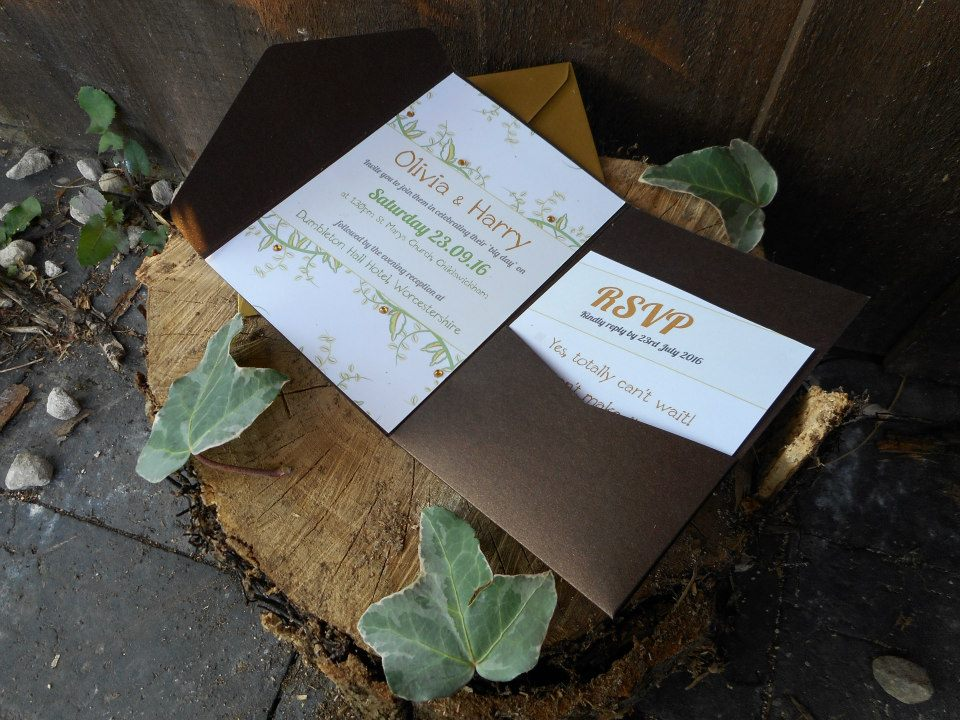 vine invitation, clink design, wedding stationery