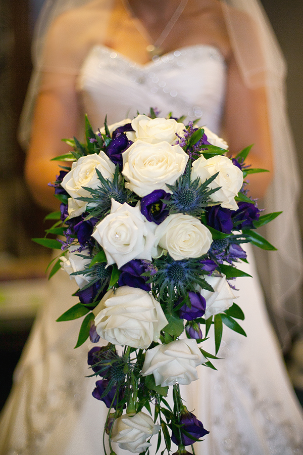 Christine & Russell, duncan mccall photography, grand central hotel glasgow, white roses and puple flower bridal bouquet
