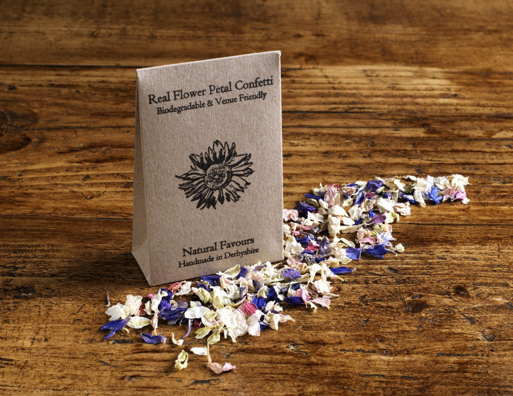 real flower petal confetti , natural favours