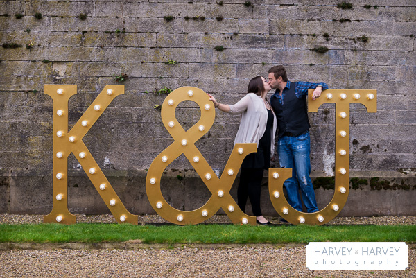 harvey and harvey photo illuminated letters engagement shoot stoke rochford hall mad