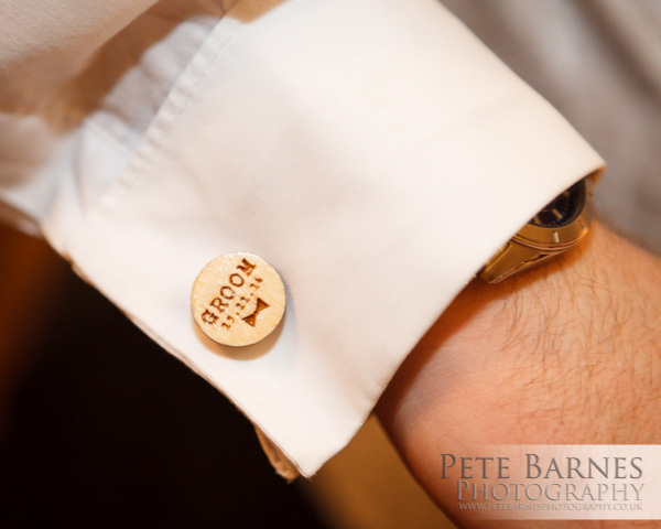 Wedding Photography at Abbeywood Estate, pete barnes photo, wooden cufflinks