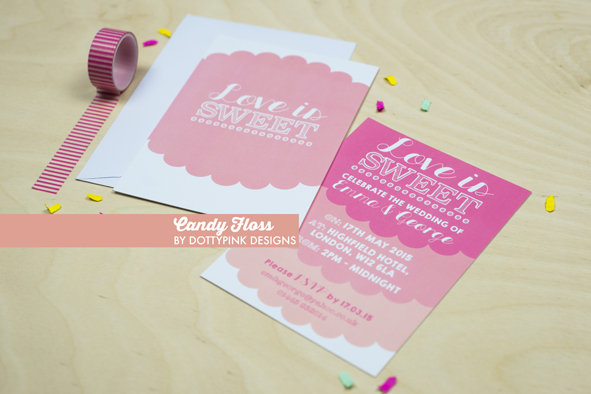 candyfloss, dottypink design, wedding statinery, hollybooth Photo