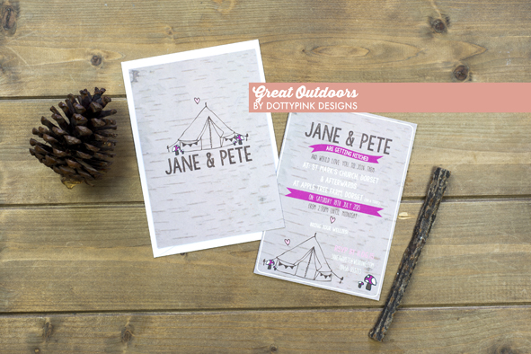 MrsPandPs Sunday Morning Cuppa,  Wedding Blog, Blog  Catch up, great outdoors invitation, dottypink design, wedding stationery, hollybooth photography