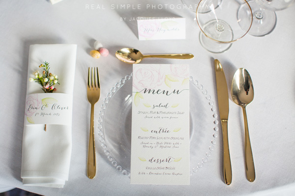 Watercolour Table Setting, Coral & Slate, Bespoke prints, Wedding Stationery, Signage,Image Credit - Real Simple Photography